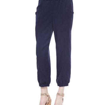 Lightweight Tapered Twill Pants, Petite, Women's - Eileen Fisher - Midnight