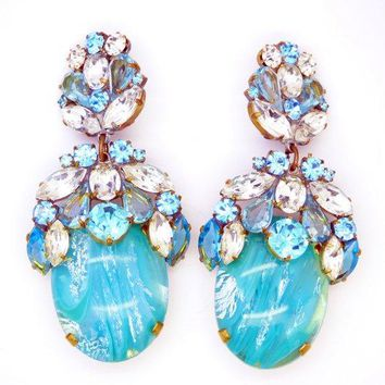 Czech Glass Massive Dangling Clip Earrings Aqua Blue and Clear Stones