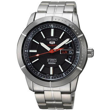 Seiko SRP337 Men's 5 Sports Black Dial Stainless Steel Bracelet Automatic Watch
