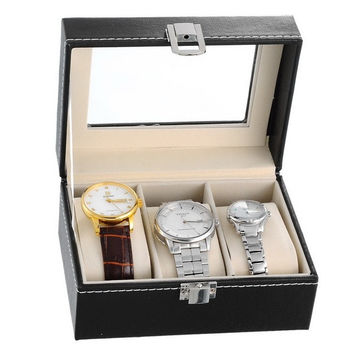 Black 3-Slot Watch Display Storage Box Leather Case (Color: Black) = 1705625668