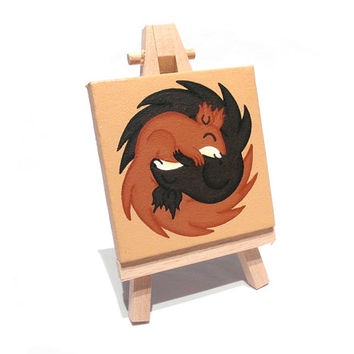Sleeping Squirrels Miniature Painting - red squirrel and black squirrel acrylic art on mini canvas with easel