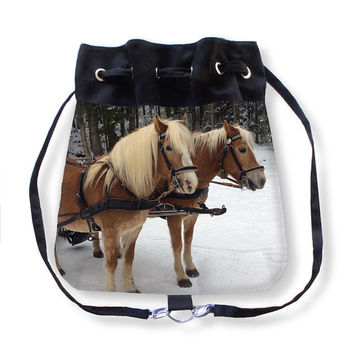 Horses Altaussee, Boho Bag, Backpack, equestrian, animals, grey, black, brown, country living, accessory, winter, rustic, Austria