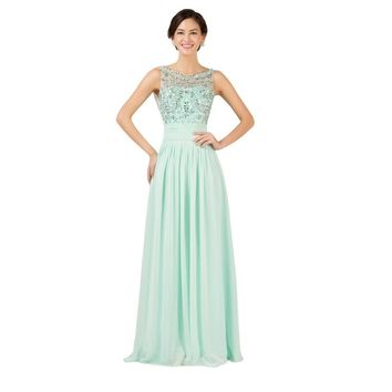 Princess Design Beaded Evening Dresses 2017 Mint Green Chiffon Party Gowns Sexy Backless Long Evening Gown Formal Dress 7532