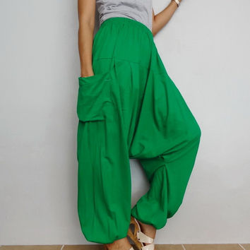 Softy Glass Green Drop crotch long trouser,Unisex Yoga,Baggy harem pants, cotton blend (Drop pants-32).