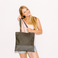 Grey Leather Tote - Vegan Leather Bag - School Bag - Large Tote Bag - Faux leather Market bag
