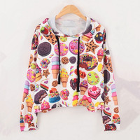 Desserts Print Hooded Crop Sweatershirt