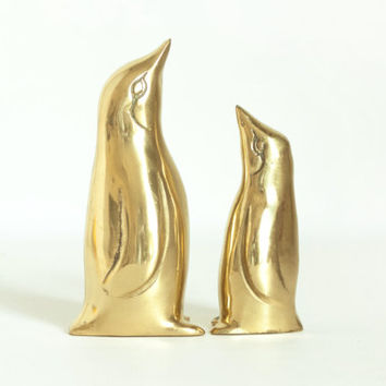 Pair of Small Vintage Brass Penguins, Mom and Baby Penguin Figurines, Gold Tone Home Decor Bird Statues