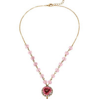GLITTER ROSE SMALL KEY PENDANT PINK