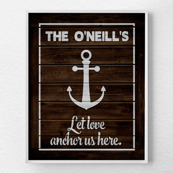 Personalized Family Nautical Art, Personalized Family Print, Custom Family Print, Rustic Nautical Print, Anchor Print, Nautical Decor