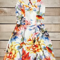 Tropical Print Summer Dress