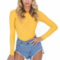 1PC Women Solid Yellow Bodysuits