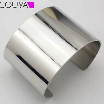 2015 New Designer Stainless Steel Wide Blank Plain Shiny Arm Cuff Bangle Bracelet Hiphop Punky Jewelry  Ladies Fashion Jewelry