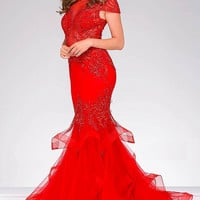 Red Mermaid Cap Sleeves Jovani  Dress 47927