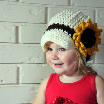 Crochet Newsboy Hat, Sunflower Hat, Girls Newsboy Cap, Fall Girls Knit Hat, Photo Prop, Crochet Sunflower Brim Hat, Girls, Women, Toddler