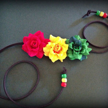 Rasta Rose Trio headband
