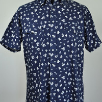 BEN SHERMAN Cowboy Western Printed Men's Shirt Short Sleeve Size M Poppers Vintage Collared Navy Blue White Pattern