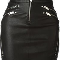 Diesel 'Yusra' leather zips mini skirt