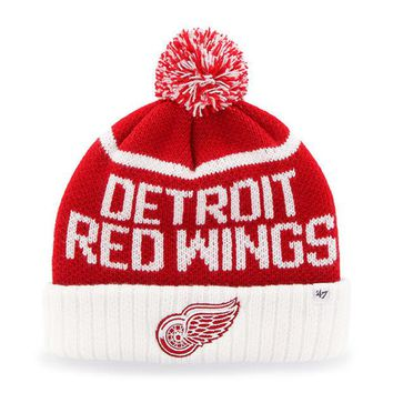 ONETOW NHL 47 Brand Detroit Red Wings Red Linesman Cuff Knit Hat w/ Pom