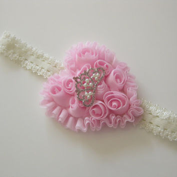 Girls pink princess headband - pink chifon heart, pink lace headband, toddler headband,baby headband, hair accessories,newborn photo prop