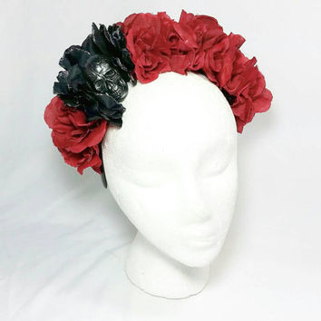Day of the Dead Red Rose Skull Headband/Frida Kahlo Headband/Dia de los Muertos Hair Accessory
