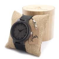 BOBO BIRD Wood Watch Real Leather Band Men's Bamboo Wood