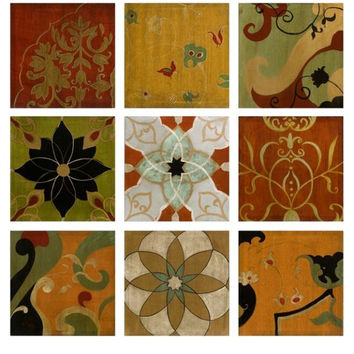 9 Wall Canvas Panels - Spanish Floral Medallion