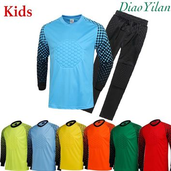 SPT Football kids Soccer Goalkeeper Jersey Sponge Protector Suit Camisetas De Futbol children Goal Keeper Uniforms Long Sleeve