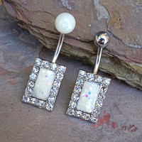 White Opal Belly Button Ring Square Opal Navel Ring Glitter