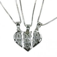 "Sterling Silver 3 Part Breakable ""Best Friends"" Heart Pendant with THREE 18"" Chain Necklaces"
