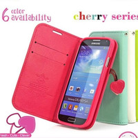 Cherry Case For Samsung galaxy s4 I9500 Leather Wallet Stand Cover New Cherry Heart Stand Case YXF00293  15% OFF for 2PCS!
