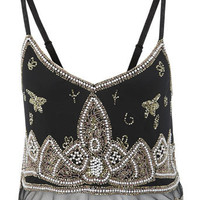 Paisley Beaded Cami Crop Top grunge indie emo gothic gems black