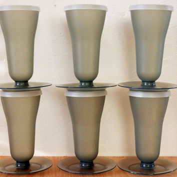 Vintage Gray Tupperware Parfait Cups with Lids, Storage Containers, Sherbets