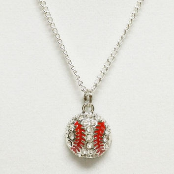 Baseball Necklace | Rhinestone Softball Necklace | Softball Gifts | Sports Jewelry | Team Gift | Softball Mom | Baseball Charm