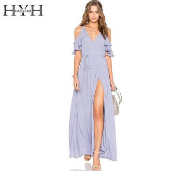 HYH HAOYIHUI Solid Blue Women Dress Deep V-Neck Side Split Cold Shoulder Elegant Vestidos Butterfly Sleeve Sexy Maxi Dress