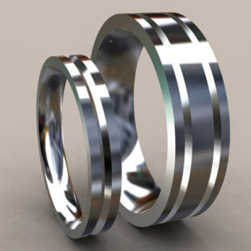His & Hers Wedding Band Set in Sterling Silver, Mens and Ladies Matching Simple Classic Design with Unique Channels and Comfort Fit
