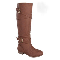 Coco Buckle Cross Strap Knee High Riding Boots