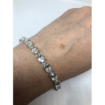 Handmade Genuine White Sapphires Rhodium Finished 925 Sterling Silver Tennis Bracelet