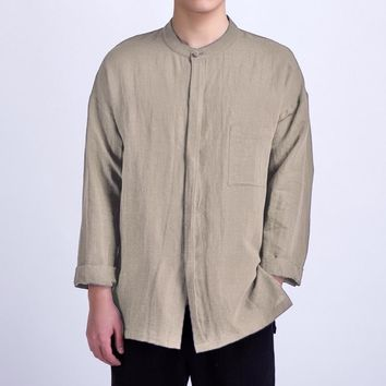 PODOM — Men's Long-Sleeved Linen Casual Stand Collar Shirt