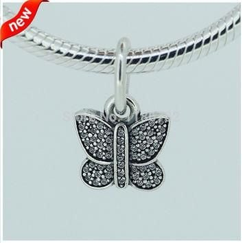 Butterfly Silver Dangle Charms With Cubic Zirconia DIY Fits for Pandora Bracelets 100%