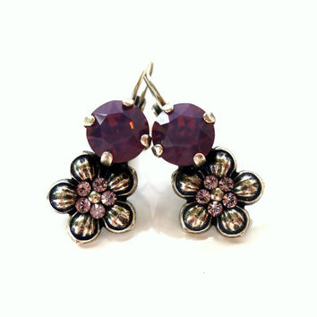 Swarovski crystal and flower drop earrings- purple, GREAT PRICE,  gift idea, Siggy designer inspired earrings