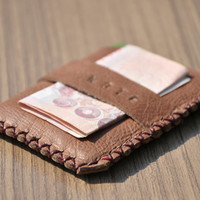 Wallet Leather Card Holder , Card holder , Slim wallet , Money Clip - Wallet For Men - Free Monogramming