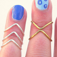 5 Above  The Knuckle Rings -  Chevron Knuckle Rings -  Mid Knuckle Rings   - You Chose Colors - set of 5 by Tiny Box