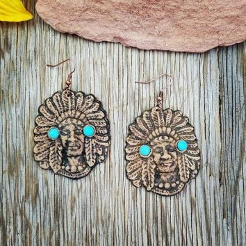 Leather Indian Chief Earrings