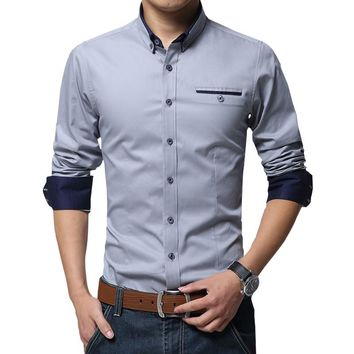 High Quality Long Sleeve Slim Fit Shirt, Pure Color, Modern and can wear in any occasion, available on plus size