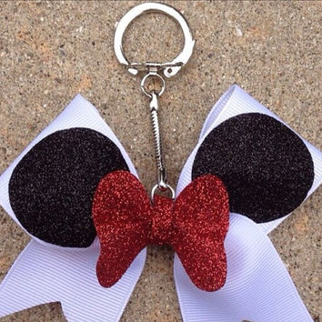 Minnie Mouse Bow Keychain