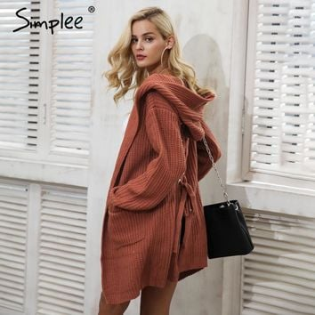 Simplee Hooded knitting long cardigan sweater Women jumper back lace up sweater Female coat Bohemian  warm knitted pocket outerwear