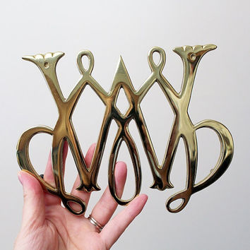 Virginia Metalcrafters Brass Trivet - Colonial Williamsburg William and Mary Cypher Brass Trivet