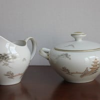 Oriental Japanese Creamer & Sugar Set, Kiyomizu Temple Pagoda Tower, Mint Vintage 1963 Sone China, Asian, Made in Japan