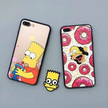 New Luxury For iPhone 5,5s,SE,6,6 Plus,6s,6s Plus Phone Case High Quality Donut Back Cover Cute Cartoon The Simpsons Phone Case