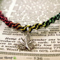 Rasta Hemp Necklace, Rasta Weed Necklace, Cannabis Rasta Necklace, Red Yellow Green Black Hemp Necklace, Pot Leaf Necklace, Cannabis Jewelry